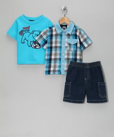Take a look at this Blue 'Bulldog' Shorts Set - Infant & Toddler by Boys Rock on #zulily today!