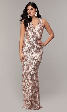 Shop rose gold long sequin formal prom dresses at Simply Dresses. Rose gold evening dresses for prom and v-neck formal dresses with jersey linings, leaf patterns, and sequin-mesh overlays. Lilac Wedding Dresses, Beige Prom Dresses, Winter Bridesmaid Dresses, Junior Prom Dresses, High Low Prom Dresses, Pretty Prom Dresses, Pageant Dresses, Evening Dresses, Two Piece Long Dress