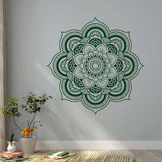 Wall Decal Mandala, Yoga Wall Decal, Mandala Wall Decal, Meditation Gifts, Indian Wall Art, Boho Bohemian Bedroom Yoga Studio Decor C100