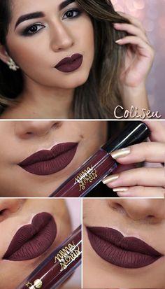 Lipstick Shades, Lipstick Colors, Lip Colors, Glam Makeup, Eyeshadow Makeup, Beauty Makeup, Maquillaje Kylie Jenner, Mascara, Batons Matte