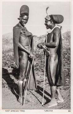 a–fri–ca:Two Turkana men, circa 1950 (Kenya) > Turkana people (photo from Old East Africa Postcards)