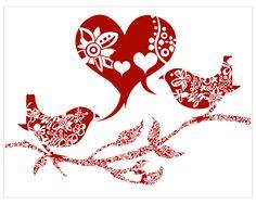 2 oiseaux rouges et coeurs