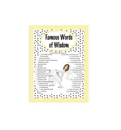 Bridal Shower Game Famous Words of Wisdom Game by TheVintagePen