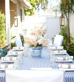 Mother's Day Brunch Table in Stripes