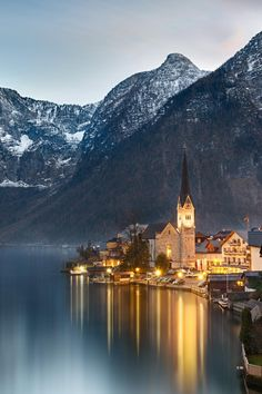 Dusk at Lake Hallstatt, Salzkammergut, Austrian Alps