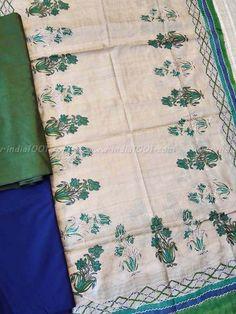 Elegant Block Printed Tussar Silk & Silk cotton Suit fabric