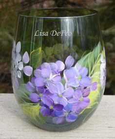 handpainted hydrangea stemless wine glass