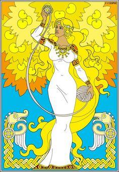 The Goddess Jiva and The Apples of Youth Asatru, Goddess Art, Princess Zelda, Disney Princess, Gods And Goddesses, Colorful Pictures, Art Images, Pagan, Mythology