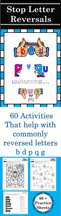 Reverse It - Over 60 printable activities to help students overcome letter reversals and confusion between the letters b, d, p, q and g. Reading Help, Early Reading, Teaching Reading, Reading Centers, Kindergarten Literacy, Literacy Activities, Interactive Activities, Dyslexia Activities, Preschool
