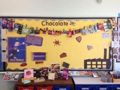 Chocolate display, ready for children to add some bits.