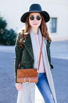 Stylewich by Elizabeth Lee, Fashion Blogger, Outfit Ideas, Style Inspiration, Fall Fashion, Blank NYC Suede Moto Jacket, Chloe Faye Bag