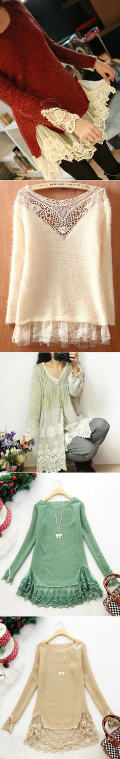 Adding Lace to Sweaters Umgestaltete Shirts, Diy Kleidung, Recycled Sweaters, Altered Couture, Clothing Hacks, Clothing Ideas, Altering Clothes, Cycling Outfit, Mode Inspiration