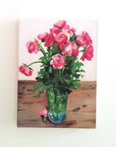 Bouquet of pink flowers in a vase- Tiny canvas print -  wall hanging - Print of Original acrylic painting- CANVAS ART PRINT