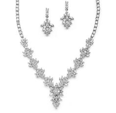 Glamorous Marquis CZ Cluster Wedding and Special Occasion  Necklace and Earring Set - Affordable Elegance Bridal -