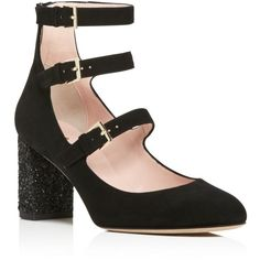 kate spade new york Anie Glitter Block Heel Mary Jane Pumps - 100%... ($350) ❤ liked on Polyvore featuring shoes, pumps, heels, black, strappy pumps, kate spade pumps, black strappy shoes, black block heel pumps and black mary jane pumps