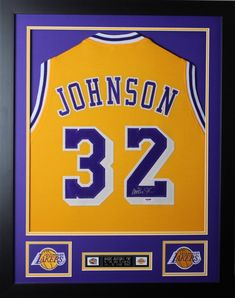 b6e630eac830 Magic Johnson Autographed and Framed Gold Lakers Jersey Auto PSA COA D2-S