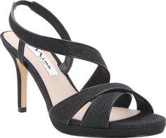 "Nina Brilyn Women's Sandal 6 B(M) US Noir-Black-Patent. Heel Height: 3 1/4"". Origin: Imported. Fit: True to Size. Outsole: Leather. Upper: Dreamer/Metallic Foil, Dreamland/Metallic Foil."