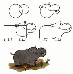 9 best hippo images on pinterest how to draw hippopotamus and doodles