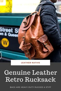 Our Genuine Leather Retro Rucksack is designed with high-end goat leather material and features a fashionable and durable frame, It will become your essential companion in your day-to-day life. Small Leather Bag, Leather Purses, Leather Handbags, Leather Bags, Brown Backpacks, Classic Leather, Leather Material, Retro, Fashion Bags