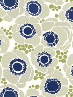 base blanc, motif gris clair, pois au tool vert, détails fleurs bleu marine