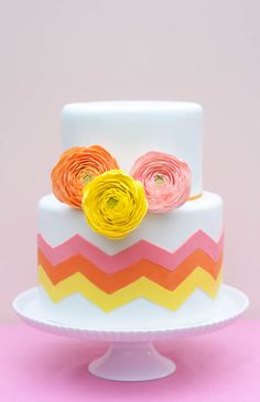DIY chevron style tutorial for cake decorating