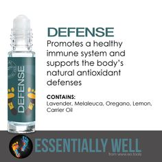Defense - Promotes a healthy immune system and supports the body's natural antioxidant defenses #essentiallywell #diykit #makeandtakekit #essentialoils #reflexology