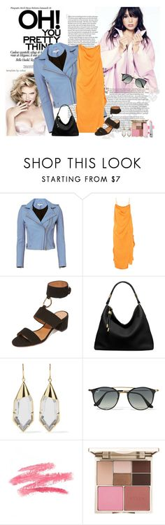 """Late Night"" by cindy-q ❤ liked on Polyvore featuring IRO, Aquazzura, Michael Kors, Noir Jewelry, Ray-Ban and Stila"