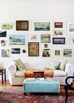 Modern Bohemian: The Sydney home of artist Cressida Campbell. Collection of small paintings, salon hung in the loungeroom. Photo - Sean Fennessy, production – Lucy Feagins / The Design Files. Home Living Room, Living Spaces, The Design Files, Design Blog, Home Interior, Kitchen Interior, Interiores Design, Interior Inspiration, Daily Inspiration