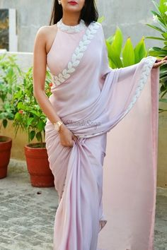 Buy Pastel Mauve Pink Pearl Work Silk Georgette Saree by Colorauction - Online shopping for Sarees in India Lehenga Designs, Sari Blouse Designs, Fancy Blouse Designs, Kurta Designs, Saree Jacket Designs Latest, New Saree Designs, Crop Top Designs, Saree Blouse Patterns, Trendy Sarees