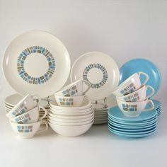 RESERVED  Temporama Dinnerware Set Full Service by WoolTrousers, $256.00
