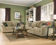 Family room ashley lena putty sofa & loveseat set