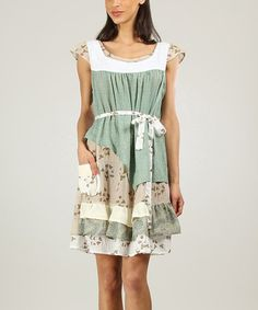 Look what I found on #zulily! Green & Sand Ruffle Scoop Neck Dress by Ian Mosh #zulilyfinds