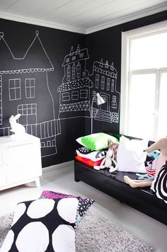 fun for a black & white room. I have to wonder though- fun on pinterest but wouldnt this kind of be a mess. Your kid leans against it in their clothes, smears it, gets it all over their fingers. But then again kids will be kids and get dirty, so I imagine chalk dust wouldnt be the worst of it! :)