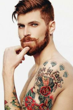 Cool arm tattoos, cool tattoos for guys, body tattoos, men Beards And Mustaches, Moustaches, Ginger Men, Ginger Beard, Ginger Hair, Cool Arm Tattoos, Cool Tattoos For Guys, Men Tattoos, Body Tattoos