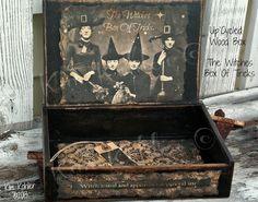 Witch Crow Wood Box Primitive Jewelry / Whatever Box Veenas Mercantile
