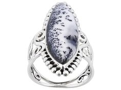 Artisan Gem Collection Of India, Dendritic Opal Marquise Cabochon Sterling Silver Ring