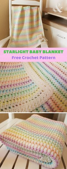 Beautiful spring blanket will be perfect in baby crib or stroller. Adorable colors will go along with any baby outfits. Blanket is approximately 33.5″ x 27.5″, but you can easily adjust it if bigger size is needed. #freecrochetpatterns #babyblanket #crochetblanket