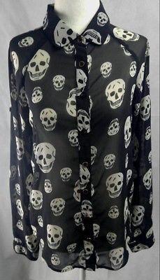 0c3ecdea446bcc Womens Black Skull Sheer Fun & Flirt Shirt Long Sleeve Size SMALL Button up