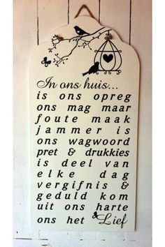 'In ons huis..' Sign   Mooi Goete Diy Signs, Wood Signs, Home Projects, Projects To Try, Market Day Ideas, Words On Wood, Words To Live By Quotes, Afrikaans Quotes, Craft Markets