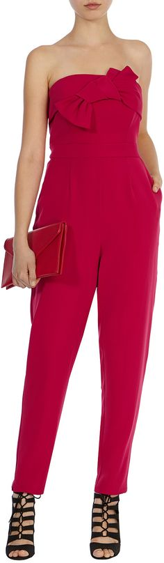 Womens raspberry ariella bow jumpsuit from Coast - £129 at ClothingByColour.com Playsuits, Hot Pink, Raspberry, Coast, Jumpsuit, Bow, Clothes, Dresses, Women