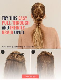 Hair Style Inspiration :   Illustration   Description   This infinity braid and pull-through braid tutorial is the perfect updo for long hair or medium hair.    -Read More –   - #HairStyle https://adlmag.net/2017/09/25/hair-style-inspiration-this-infinity-braid-and-pull-through-braid-tutorial-is-the-perfect-updo-for-long/