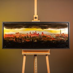 48″ x 18″, Resined Mixed Media on Aluminium  The spectacular London skyline painted with liquid resin to create mesmerising blends of colour, and stunning warmth and shine  Please get in touch for more information.