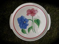 "POTTERY GUILD OF AMERICA PLATTER 12 1/2"" CREAM BLUE & RED FLOWERS HAND PAINTED  #POTTERYGUILDOFAMERICA"