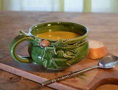 Soup mug ceramic oak acorn cappuccino chili bowl by hughespottery, $40.00