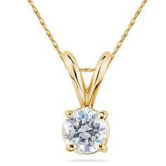1 Carat Round Diamond Solitaire Pendant in 14K White Gold