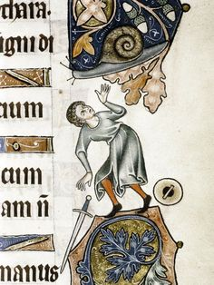 A man, drawn in the decorative margin of a page in the Ormesby Psalter manuscript, drops a sword and buckler (or is he reaching for them) in response to the giant snail in the acorn branch above him. England ca. 1300 (Bodleian Library, MS. Douce 366, fol. 109r)