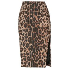 Altuzarra Faun Leopard-Print Cotton Pencil Skirt (715 CAD) ❤ liked on Polyvore featuring skirts, brown, black knee length skirt, leopard pencil skirt, brown pencil skirt, cotton skirt and brown cotton skirt