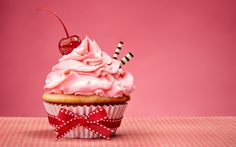 Download wallpapers Cake, cherry, birthday cake, sweets, dessert, cupcake
