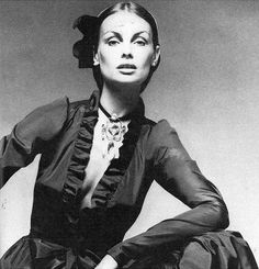1971-72 - Jean Shrimpton in Yves Saint Laurent black satin Proust dress by David Bailey, Vogue, September