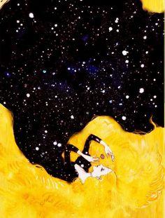 Kai Fine Art is an art website, shows painting and illustration works all over the world. Art And Illustration, Character Illustration, Mellow Yellow, Black N Yellow, Color Yellow, Yellow Hair, Black Art, Poster S, Art Plastique